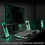 GOgroove Gaming Satelliten Lautsprecher Set / Stereo 2.1 Lautsprecher System Subwoofer für PC Spiele wie Minecraft Sims 4 Battlefield Ghost Recon usw - 4