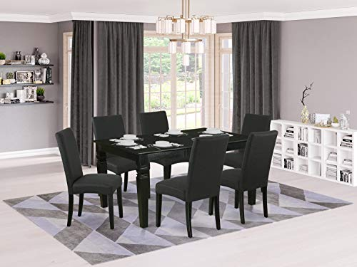 """7Pc Rectangular 42/60"""" Dinette Table With 18 In Leaf And 6 Parson Chair With Black Finish Leg And Linen Fabric- Black Color"""