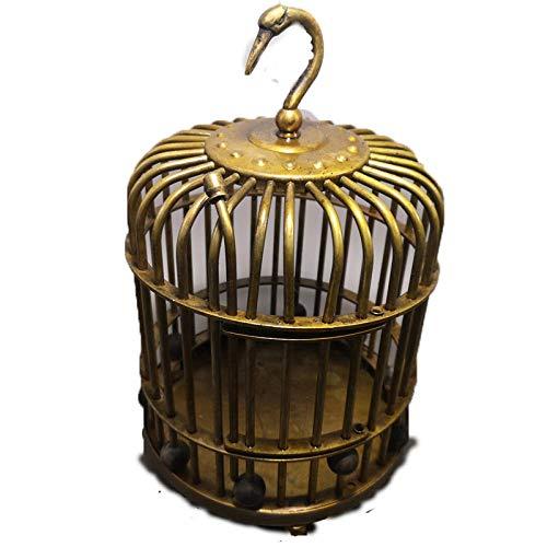 WOREX Sculptures Decor Antique Crafts Collection Antique Distressed Brass Bird Cage Decoration