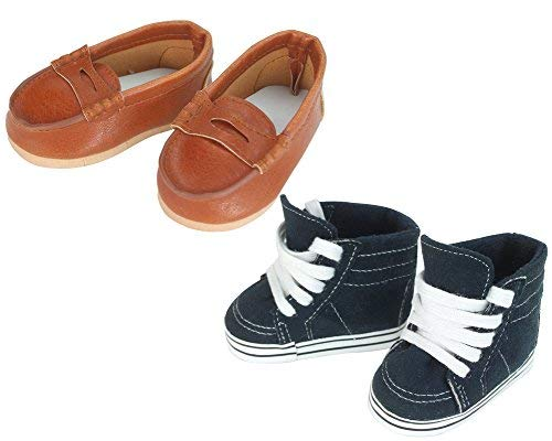 Sophia's 18 Inch Doll Boy Shoes Navy Sneaker and Brown Loafers for Girl or Boy Dolls