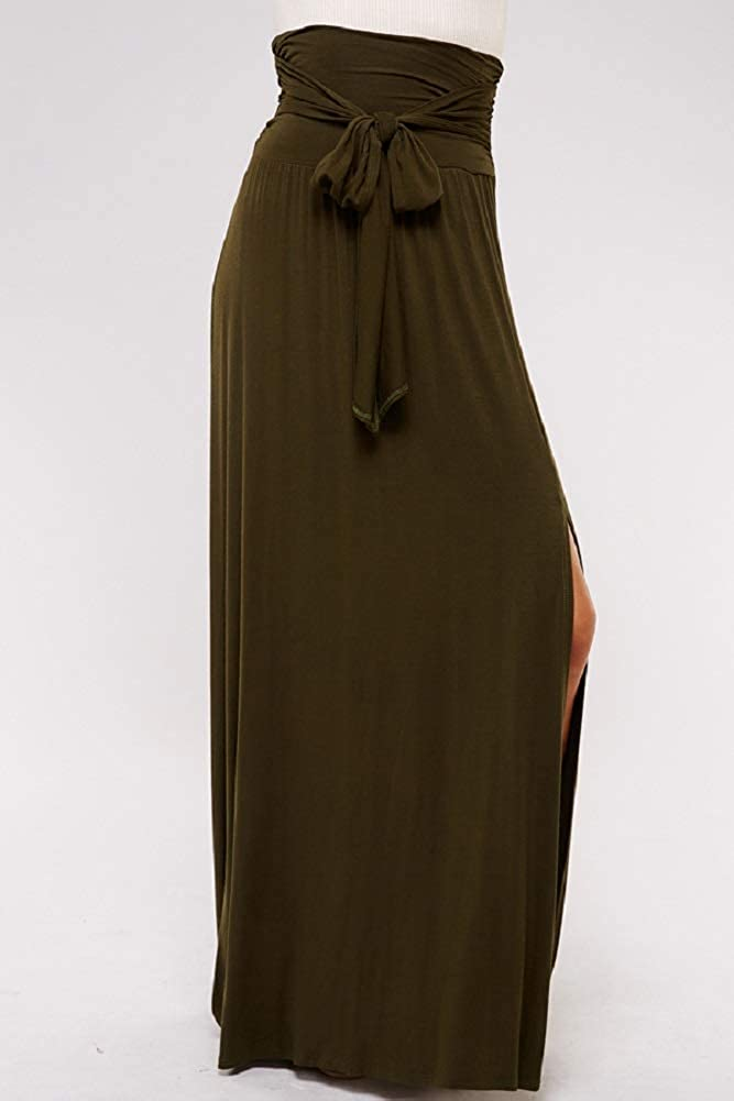 Women's Casual Maxi Long Skirt - High Waisted Solid Draped Soft Comfort Lounge Waist Tie with Side Silt S4085 Olive S