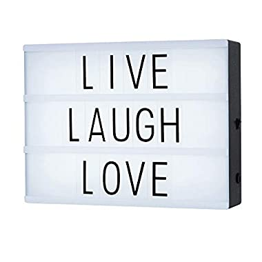 Cinematic Light Box with 85 Letters,A4 Size Free Combination Cinema Light Box DIY LED Letter Lamp for Home Decor, Photoshoots, Birthday Party,Christmas Gift(Extra 85 Emoji Signs)