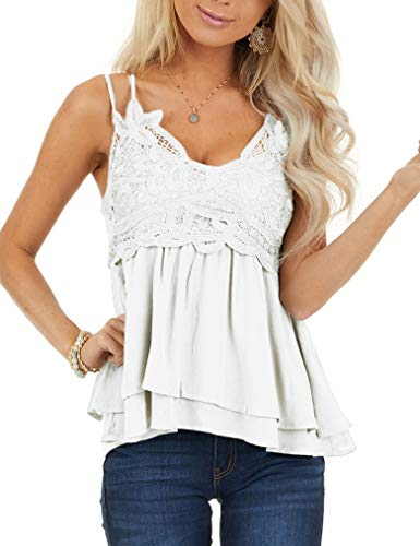 Women Lace Tank Tops V Neck Strappy Loose Camisole Vests Shirt White S