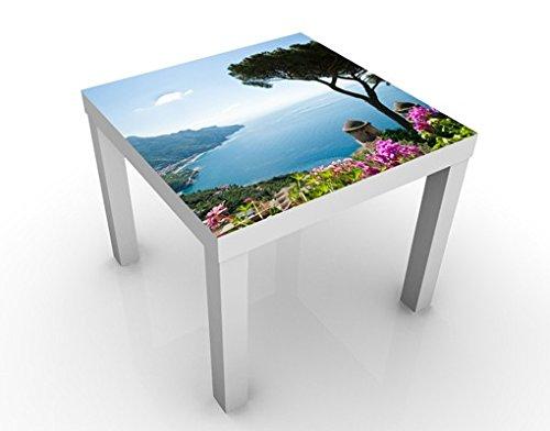 Design Tisch Ausblick vom Garten aufs Meer 55x55x45cm Wohnzimmer Ozean, Tischfarbe:schwarz;Größe:55 x 55 x 45cm