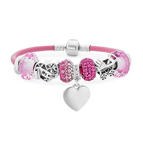 Personalizar grabado mi esposa nueva madre corazón temático Starter cuentas Multi encanto pulsera cuero rosa .925 plata esterlina europeo barril Snap Cierre 7 pulgadas personalizadas grabadas