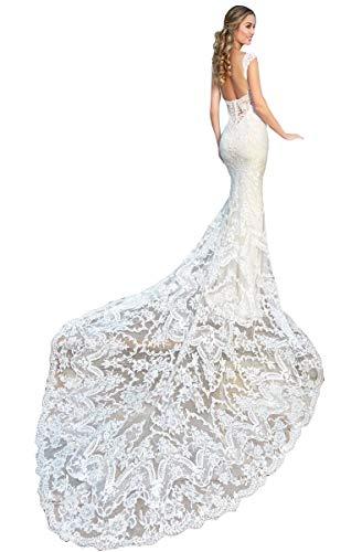 CGown Damen Sweetheart Ausschnitt Rückenfrei Slimline Spitze Meerjungfrau Hochzeitskleider für Braut mit Zug Brautkleid Gr. 34, weiß