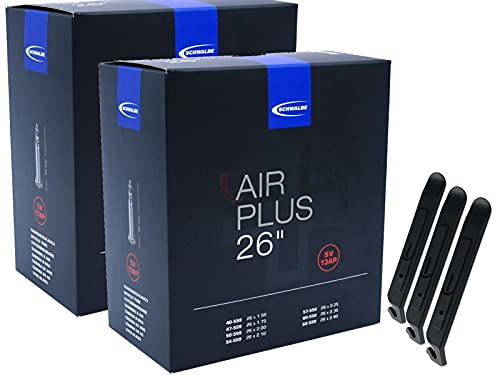pneugo! Schwalbe Sclaverand 40-559/62-559 SV13 (Air Plus) - Set de 2 cámaras de aire para bicicleta (26') y 3 desmontadores