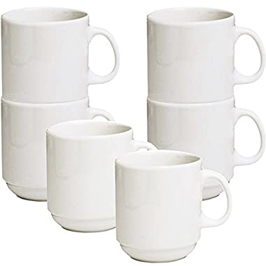 Stackable Ceramic Diner Coffee and Tea Mugs with Pan Scraper, 12 Ounce (6-Pack, White Ivory)