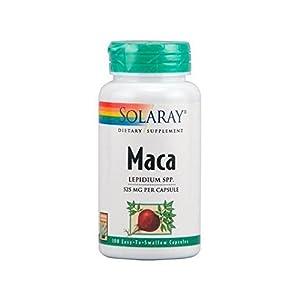 Solaray Maca Andina Suplemento Dietetico 100 Cápsulas de 525 Miligramos - Aumenta la Masa Muscular, la Resistencia Física y Mental, la Libido y Controla el Desorden Hormonal - Gran Energetizante