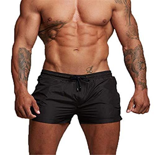 EDOTON Bañador para Hombre, Pantalones Cortos Impermeables Pantalones Cortos de Surf Pantalones de Natación (EU M/Tag L, Negro)