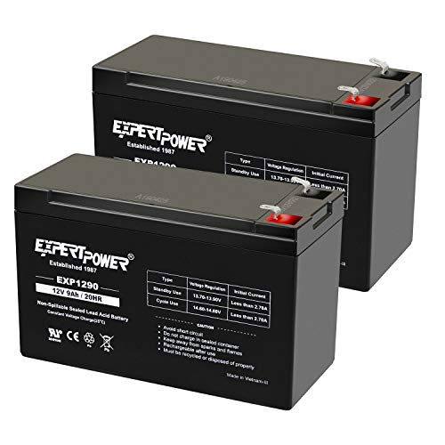 "ExpertPower 12v 9ah Sealed Lead Acid Battery with F2 Terminals (.250"")/2 Pack"