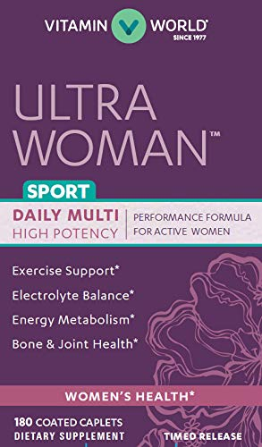 Vitamin World Ultra Woman Sport Daily Multivitamins 180 Caplets, Vitamins for Women, Energy Metabolism Support, Bone & Joint Health, Timed-Release, Coated, Gluten-Free