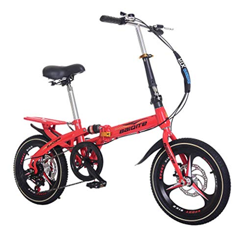 Phil Beauty Bicicleta De Montaña Plegable para Niños Freno De Disco De Velocidad Variable Absorción De Choque Asa Y Asiento Ajustables Acampar Deportes Al Aire Libre,Rojo,16'