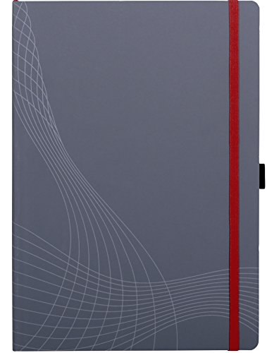 AVERY Zweckform 7021 Notizbuch notizio (A4, Softcover, gebunden, kariert, 90 g/m², 80 Seiten, Notizblock mit Innentasche, Stiftschlaufe, Verschlussband und Lesezeichenband) grau