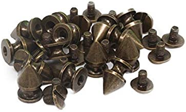 Trimming Shop 50 Pieces of Bronzes Punk Spike Screwbacks, 5mm x 8mm - Made from Solid Brass - Accessories for Clothing, Jackets, Jeans, Bags - Fashion, Arts & Crafts