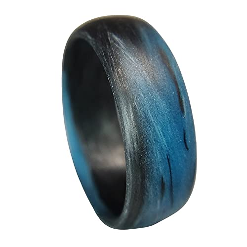 Carbon Fiber Blue Marbled Glow Ring | Handcrafted in the USA | Black and Blue Glowing Band | Custom Band widths | Wedding Band