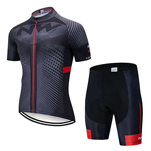 OJKYK Men Cycling Jersey Suit Short Sleeve Bicycle Clothing Set Mtb Top + 19d Gel Padded Bib Shorts