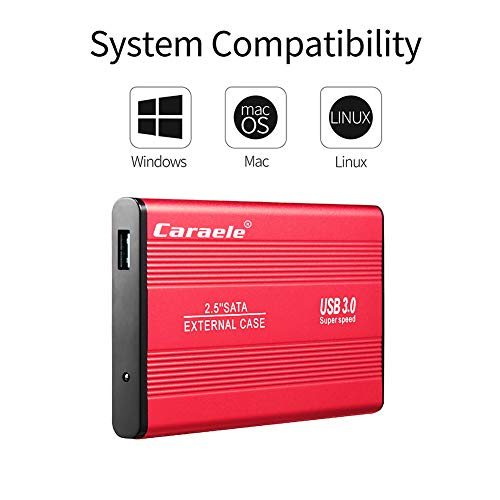 LYZL Este Disco Duro Externo Mobile Drive 500 GB 1 TB 2 TB USB 3.0 Almacenamiento de Copia de Seguridad del Disco Duro para PC, de Escritorio, portátil, Mac, MacBook, Xbox One, PS4, TV,Rojo,1TB