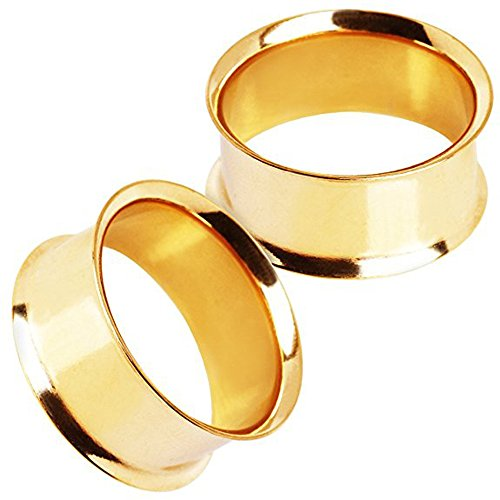 """Gold Plated Stainless Steel Double Flared Tunnel Plug Earrings, Sold as a Pair (25mm (1""""))"""