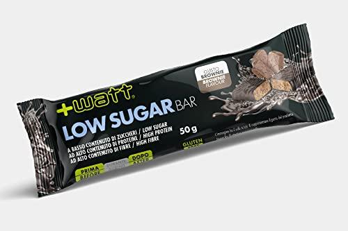 +Watt Low Sugar Bar, 24 Barrette Proteiche Da 50 Grammi Ciascuna (Brownie)