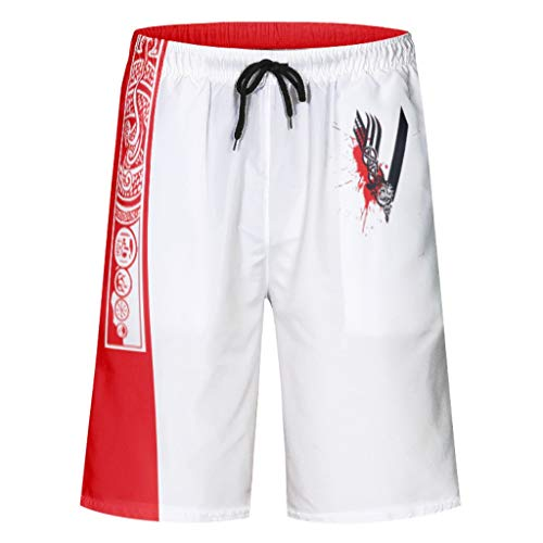 Quick Dry Beach Board Shorts Viking 3D Printed Swim Trunks with Interior Mesh Lining and Pockets White m