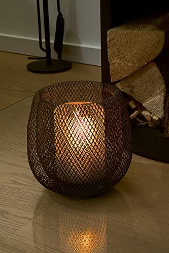 Philippi - MESH Windlicht - dekoratives Windlicht mit gefrostetem Überfangglas und doppelwandigem Gittergeflecht - das Windlicht ist Teil der MESH Serie