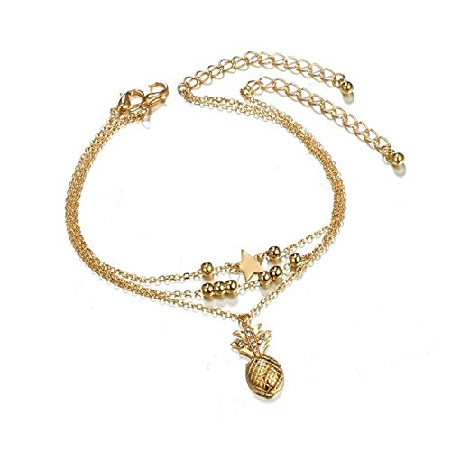 Tobillera de playa de plata y oro para mujer con cadena de pies (color: piña dorada)