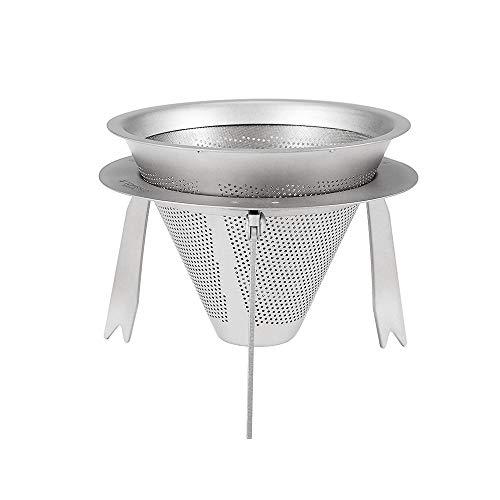 JZFUKSP Titan-Kaffeefilter - Über langsam tropfenden Filterkegel gießen. Kaffeefilter-Tropfer papierlos wiederverwendbar mit Tassenständer