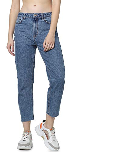 ONLY Damen Straight Jeans onlEMILY HW ST RAW JNS DB MAE 0005 NOOS, Blau (Dark Blue Denim), W26/L30 (Herstellergröße: 26)