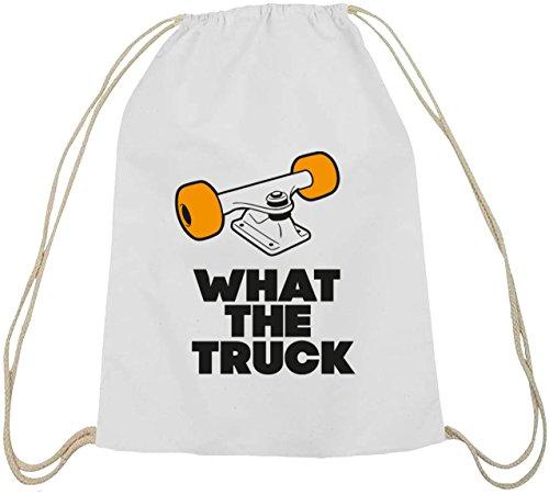 What The Truck, Skateboard Longboard Baumwoll natur Turnbeutel Rucksack Sport Beutel, Größe: onesize,weiß natur