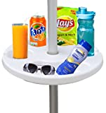 """AMMSUN 13"""" Beach Umbrella Table Tray for Beach, Patio, Garden, Swimming Pool with Cup Holders, Snack Compartments White"""