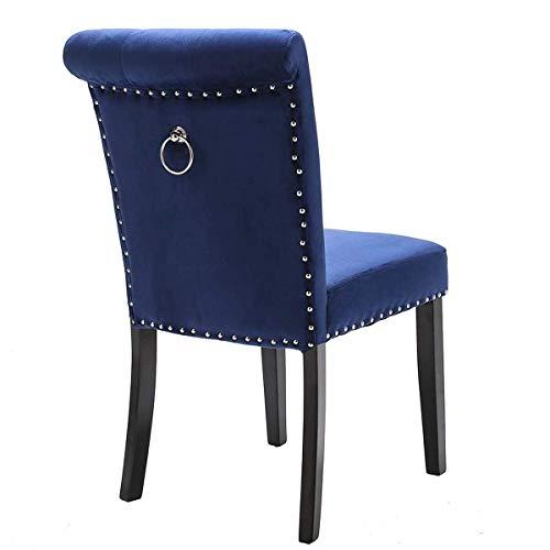 YANJ Dining Chair High Back Studded Velvet Chair Modern Kitchen Living Room Lounge Chair Button Tufted Ring Knocker Se. (Color : Navy Blue)