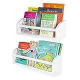 Wallniture Lissa Wall Shelf 17' Wood Wall Mounted White Bookshelf for Nursery Wall Decor, Kids Storage Organizer Set of 2