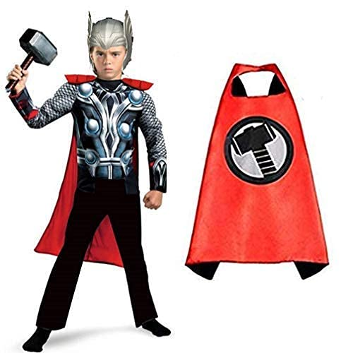 Chamsworld Superhero Costume with Hammer, Headgear, Cape, Fancy Dress Competitions, Children Role Play, Birthday Party Costume For Kids, Please Refer Dropdown For Size (Medium (4-6) years)