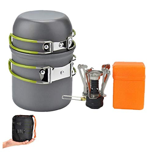 LjzlSxMF Camping Batterie de Cuisine Poêle Pique-Nique PORTIER Set Cuire Pique-Nique Ultraléger Portable Fold Batterie de Cuisine Pan pour Cuisson Cadeaux fête des mères Vert