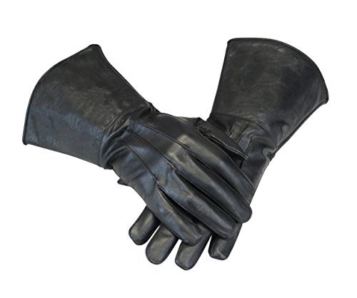 Leather Gauntlet Gloves Long Arm Cuff (Black, Large)