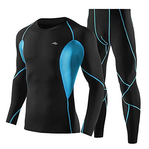Lixada Fitness Bekleidung Herren Sportbekleidung Trainingsanzug 2 PCS Schnell Trocknend Langarm Compression Shirt und Hosen Set