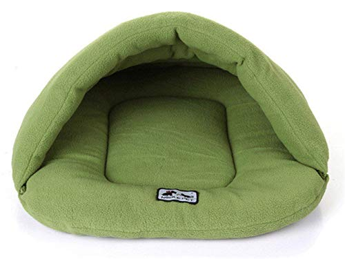 Djflight zachte polarfleece dog bed Inverno caldo pet mat verwarmende kleine puppy van Kennel House for Cats slaapzak nest cave bed L Groen