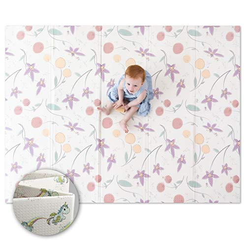 """JumpOff Jo – Large Waterproof Foam Padded Play Mat for Infants Babies Toddlers 8 Months – for Play amp Tummy Time – 76 in x 58 in – DoubleSided Design: """"Magical Friends"""" Fairy Blossoms"""