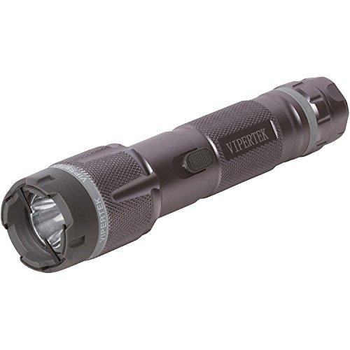 VIPERTEK VTS-T03 - Aluminum Series 59 Billion Heavy Duty Stun Gun - Rechargeable with LED Tactical Flashlight, Gunmetal Gray