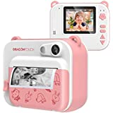 Dragon Touch InstantFun Instant Print Camera for Kids, Zero Ink Toy Camera with Print Paper, Cartoon Sticker, Color Pencils, Portable Digital Creative Print Camera for Boys and Girls - Pink