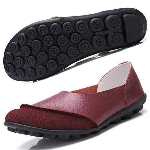 Hsyooes Damen Mokassin Bootsschuhe Leder Loafers Fahren Flache Schuhe Halbschuhe Slippers Erbsenschuhe, Weinrot, (Herstellergröße: 42)