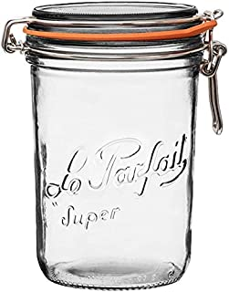 Le Parfait Super Terrine - 1L French Glass Canning Jar w/Straight Body, Airtight Rubber Seal & Glass Lid - 34 oz/1 Liter/a...