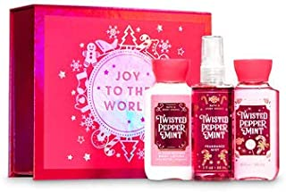Bath and Body Works TWISTED PEPPERMINT Mini Gift Box Set Set 3 pc Travel Size arranged in an gift box with a ribbon.