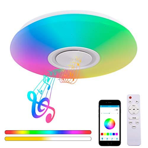 36W Lámpara de Techo con Altavoz Bluetooth Ø40cm 3000-6500K Iluminación RGB Regulable con Control Remoto y App, Cambio de Color Luces de Techo para Música para Salón, Dormitorio Cuarto de los niños