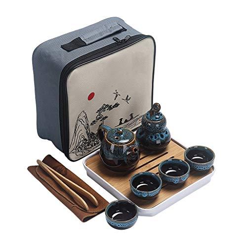 ZYING El Juego portátil del té Incluye 1 Tetera 4 Taza de té 1 Tetera Tetera de Tetera de Caddie, Tienda de cerámica de Viajes Chinos con Bolsa