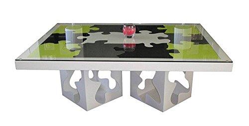Styl'Métal 21 Table Basse Puzzle 2 Pieds métal Noir, Blanc, Gris, Vert anis