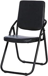 RONGJJ Silla Plegable Silla de Escritorio Respaldo Alto Silla de Escritorio de Oficina Acolchada Negra Silla de reunión Silla ergonómica Conferencia Ejecutiva Acero y Piel sintética,