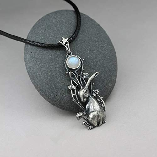 N/A Necklace pendant Hare Moon Necklace Silver Plated Charm Moonstone Necklace Rabbit Pendant Necklaces for Women Female Party Jewelry Christmas birthday Gift
