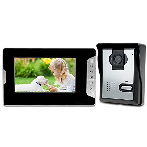 LIBO Videoportero Kit Cableado Audio 7  Impermeable Digital HD Monitor Visión Nocturna IR Cámara para Sistema de Entrada de Puerta de Casa